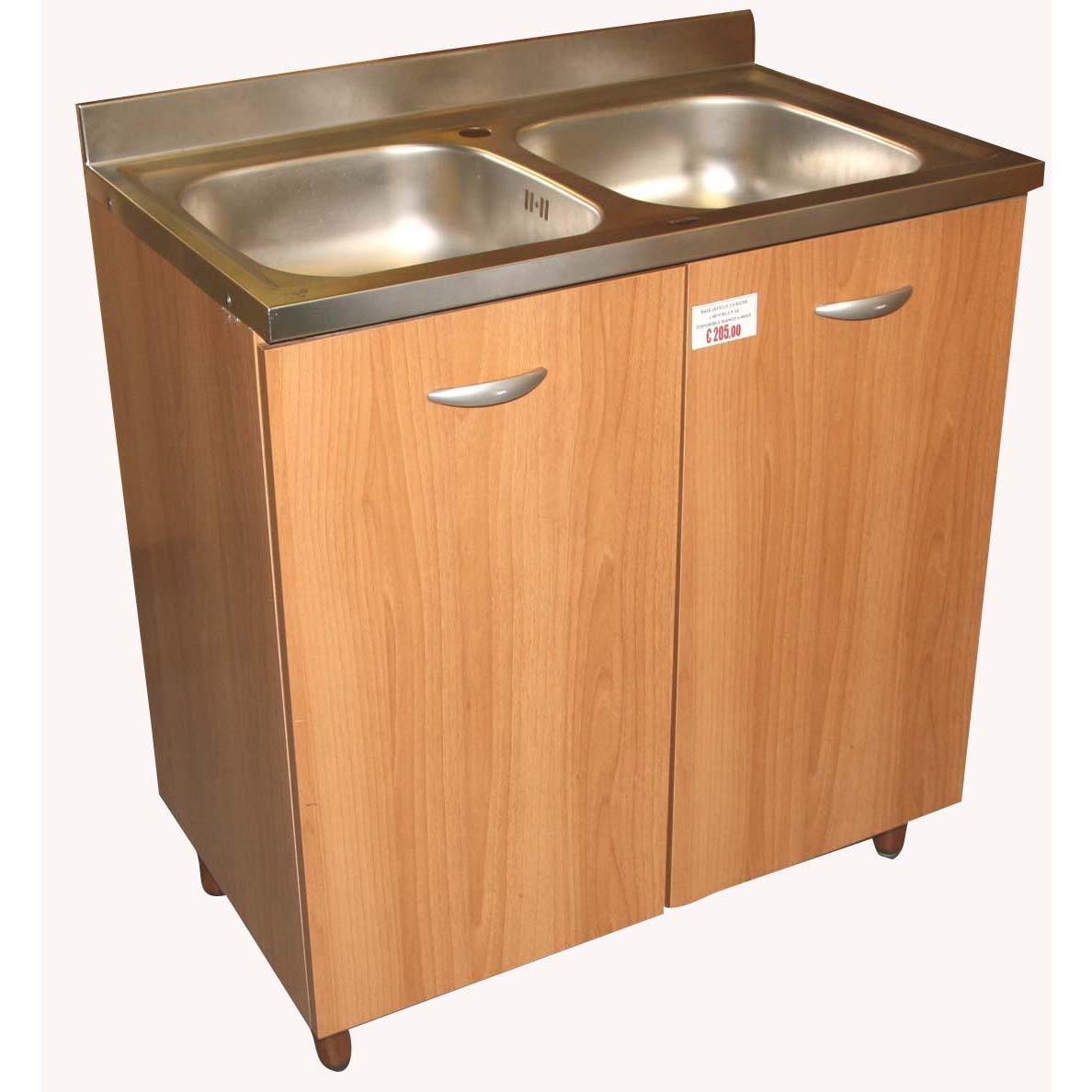 Base sottolavello a due vasche per cucina componibile Easy color ...
