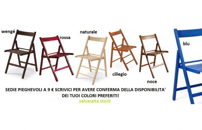 Sedie pieghevoli colorate cuneo legno