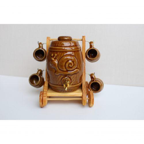 Barile in ceramica con 4 tazzine vintage