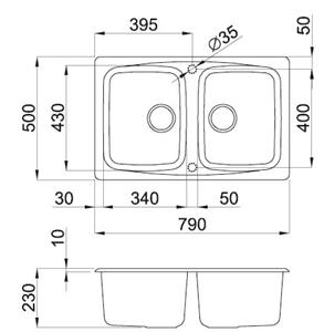 Lavello Elleci 2 Vasche 79X50 2 vasche Granitek
