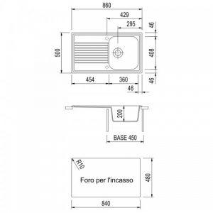 B127-misure Plados 1 Vasca Destra 86 x 50