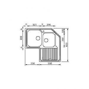 Lavello ad angolo 2 vasche (destra o sinistra) Zenith 83 x 83 x 50